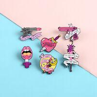 Fight Like Girl Enamel Lapel Brooch Pin Collar Gun Lipstick Badge Jewelry Gift