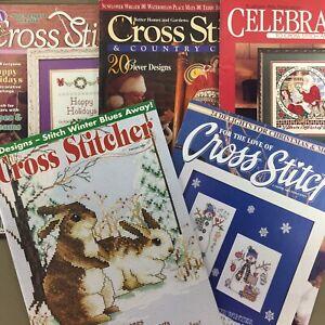 Lot of 5 cross stitch magazines Christmas stockings patriotic winter hearts etc