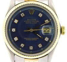 Mens Rolex Datejust 14k Yellow Gold Stainless Steel Watch Blue Diamond Dial 1601