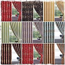 LUXURY FAUX SILK JACQUARD READY MADE EYELET RING TOP PENCIL LINED CURTAINS TIE