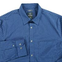 Bluffworks Slim Fit Meridian Button Front Shirt Blue Plaid Mens Size Medium