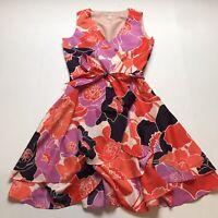 Womens Banana Republic Size 4 Purple Pink Gorgeous Floral Faux Wrap Dress A870
