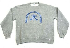 Vintage 80s Russell Athletic Fork Union Military Academy Crewneck Size XL Grey