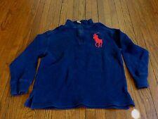 Boys Polo Ralph Lauren Big Pony Navy Quarter Zip Pullover Sweater sz S (8)