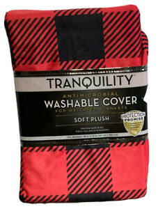 TRANQUILITY Antimicrobial Washable Cover For Weighted Blanket Red/Black Plaid 02