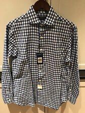 NWT Polo Ralph Lauren Men's Blue White Check Cotton Linen Shirt Medium