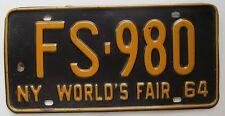 New York 1964 WORLD'S FAIR License Plate HIGH QUALITY # FS-980
