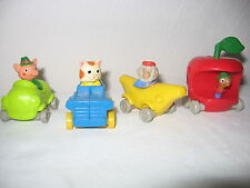 Set of 4 Vintage Richard Scarry Toy Vehicles Lowly Worm Huckle Cat Bananas