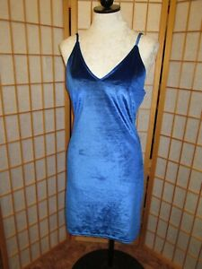Deep blue velvet Bodycon dress M-L lace up open back Chic Sexy pixie pagan goth