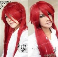 Black Butler Grell Sutcliff Red Long Straight Cosplay Wig 100cm H127