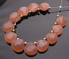 12 NATURAL PEACH PINK MOONSTONE FACETED HEART BRIOLETTE BEADS 7-8 mm P26