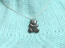 Genuine Magnetic Hematite Teddy on Sterling Silver 925 Chain- Brand New