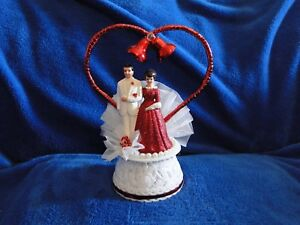 New 40th Wedding Anniversary Couple Caketopper with Bride & Groom in red