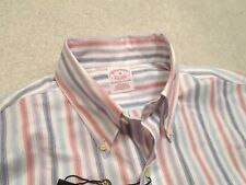 Brooks Brothers Brookscool no Iron Striped Oxford Sport Shirt NWT Medium $92