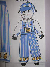 VINTAGE PRINTED PANEL TO MAKE DOLL OVERALLS,SHIRT & CAP