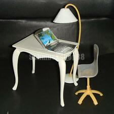Set of Office Furniture Table Chair PC Lamp for Barbie Dolls House Room Item