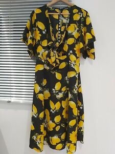 Knot Front Lemon Print Floral Midi Dress Size 12 Green BNWT ~ Boohoo