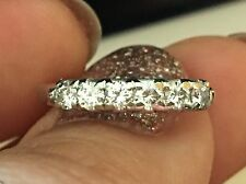 Platinum Wedding Band 6 x.04ct, .24 TCW Fine Cut Round Diamond Ring 2.7gm Sz 6