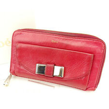 Chloe Wallet Purse Long Wallet Red Woman Authentic Used Y937
