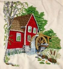 "Vintage Sunset Designs Completered embroidery Art ""Water Mill"" Wool 1979"