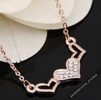Luxus Damen Goldkette mit 18 Karat Anhänger Geschenk Herz vergoldet Schmuck 37€