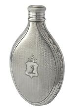 More details for antique - silver plate - hip flask - engined turned 1860's