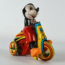 LINEMAR Mickey Mouse WALT DISNEY MECHANICAL TRICYCLE Japan LM-257 Tin Wind-Up