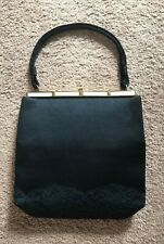 Bags By Edwards Vintage Black Satin & Lace L & M Mother Of Pearl Clutch Handbag