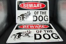 """(2) Metal Warning sign For Fence ,Beware Of Dog 10""""x13.5"""" Metal !"""
