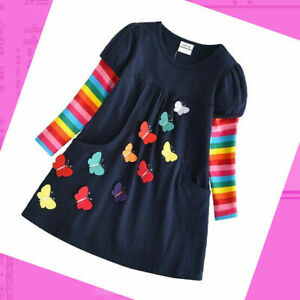 Girls Dress Cotton Tunic Casual Top Long Sleeve Dresses Age 2 3 4 5 6 7 8 Years
