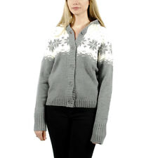 Women's PUMA Knitted Hooded Cardigan Sweater Grey White size L (T55) $70