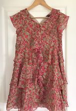 BAKER GIRL BY TED BAKER GIRLS DRESS LUNED PRINTED TIERED COTTON POLYESTER 15 Yrs