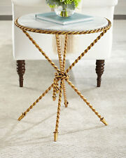 NEW HORCHOW TASSEL ROPE GOLD Iron MARBLE TOP Side End Accent Table Table