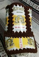 Vintage 70s OLYMPIA Beer Can Hat Crochet Knit Retro Handmade Hipster BROWN SMALL