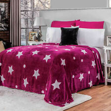 Pink and white stars Comforter Luxury Bedding Blanket Light Twin/Full