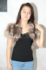 luxueux gilet boléro en fourrure + bijou  BLEU BLANC ROUGE taille 36 à 40