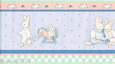 Rabbit Bunny Kid Children Baby Nursery Blue Pink Green Check Wall paper Border