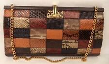 VINTAGE BROWN SNAKESKIN FRAME PURSE BAG HANDBAG CHAIN STRAP