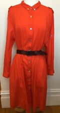 HAMMOCK & VINE Tomato Red 100% Light Cotton Collared Long Sleeve Shirt Dress 16