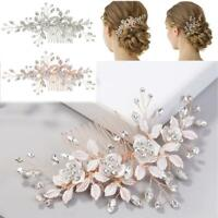 Leaves Flower Crystal Hair Comb Wedding Hair Accessories Bride Hair Clip Jewelry