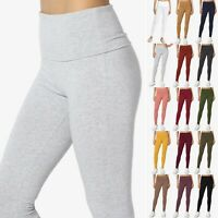 TheMogan S~XL Foldover High Waist Cotton/Span Stretch Full Length Long Leggings