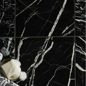 5 Pack COLOURS BLACK MARBLE EFFECT WALL & FLOOR CERAMIC TILE  (L)305MM (W)305MM