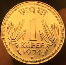 India 1974 B Mint Mark 1 Rupee Proof Coin- Please See Pictures