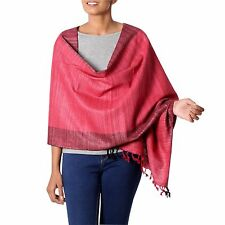 Pink Tussar & Eri Silk Shawl Red Black Handwoven 'Bhagalpuri Rose' NOVICA India