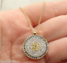 Technibond Colorful Evil Eye Pendant Cable Chain 14K Yellow Gold Clad Silver