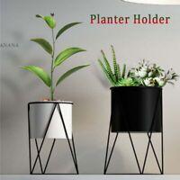 Metal House Plant Flower Pots Indoor Desktop Black Display Stand Planter Holder