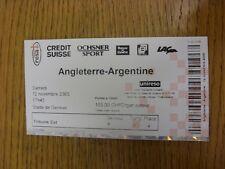 12/11/2005 Ticket: In Switzerland, England v Argentina [At Stade De Geneve] . Th