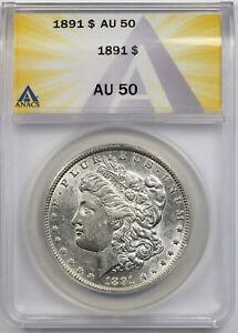 1891 Morgan Dollar $1 AU 50 ANACS