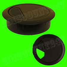 SOLID 60mm Desk Plastic Grommet BLACK Table Cable Tidy Wire Hole Cover UK SELLER
