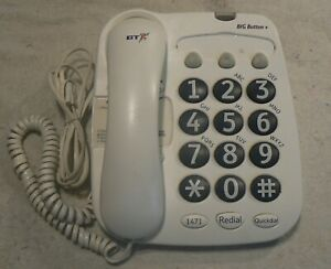 British Telecom Big Button+ Corded Phone, Used ,Clean And Tidy, New Batteries.